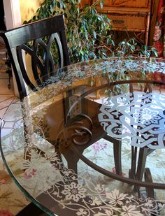 Use Etchlook vinyl on your glass and mirror furniture and decor to simulate the look of frosted glass with stencils