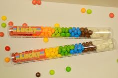 Rainbow party favors using @ShopSweetlulu candy tubes