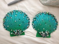 Green embellished shell bra