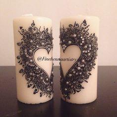 Svíčky * srdce, zdobené malováním a kamínky.
