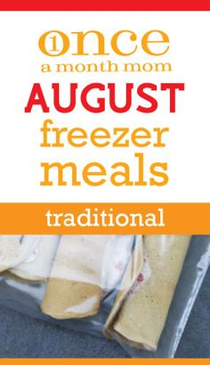 Freezer cooking menu for month of August. Perfect for getting ready for back-to-school. Grocery lists, instructions, recipe cards and MORE!