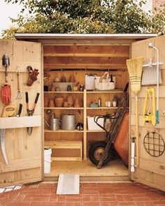 Get Your Storage Shed Organized For A Productive Summer. Water Salvage Tank  Could Be Above This Gardening Tool Shed!