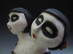 goth art doll circus conjoined twins sideshow doll