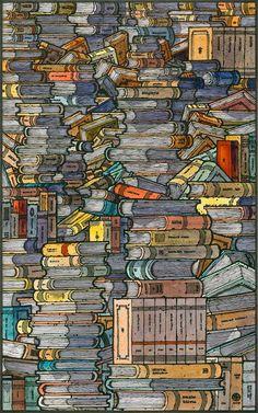 Closed books - Miguel Herranz http://society6.com/MiguelHerranz/Closed-Books_Print