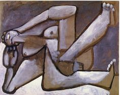 Reclining woman, 1954 by Pablo Picasso, Later Years. Surrealism. nude painting (nu)