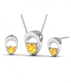 Buy Topaz Color Latest Designer Pendant & Earrings Set made with Swarovski Crystals Online India.- uranus jewelry