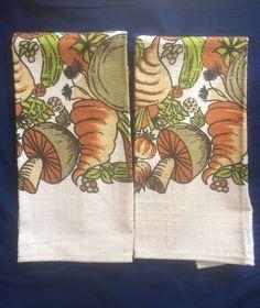 Set of 2 Retro 70s Print Mushroom Vegetables Cotton Blend Kitchen Dish Towels
