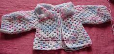 ••._.• Artes da Lilika`•.¸¸.•: Casaquinho Bebê em Crochê Hexagonal