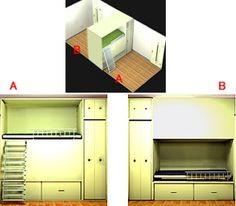 間仕切り家具で仕切った子供部屋。A側はベッド上段、B側は下段を使用。収納は奥行き半分ずつ使用、分割移動できるように作ることも可能(Office Yuu)