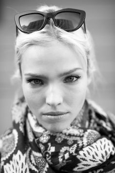 pinterest.com/fra411 #face - Sasha Luss - Street Style, MFW Fall 2014.