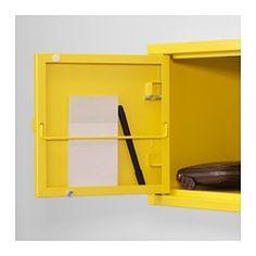 IKEA - LIXHULT, Schrank, Metall/gelb, , Praktisch zum Ordnen von Kleinkram wie Ladegeräten, Schlüsseln und Geldbeuteln oder auch größeren Gegenständen wie Handtaschen, Spielsachen usw. - je nachdem, welche der 3 Schrankgrößen gewählt werden.Wichtige Papiere, Briefe und Zeitungen lassen sich übersichtlich an der Innenseite der Schranktür festklemmen.Die Tür kann wahlweise mit der Öffnung nach rechts oder links montiert werden.
