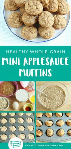 Healthy whole grain and super fast to stir together and bake these mini Applesauce Muffins are perfect for as a healthy snack! - Snacks - Ideas of Snacks Baby Food Recipes, Gourmet Recipes, Healthy Recipes, Healthy Dishes, Muffin Recipes, Fast Recipes, Diabetic Recipes, Healthy Foods, Soup Recipes