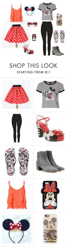 """""""minny and nickey mause"""" by elmat ❤ liked on Polyvore featuring Topshop, Lola Ramona, Disney, Gianvito Rossi, Glamorous, Forever 21 and Casetify"""