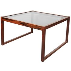 Mid Century Glass Top Coffee Table