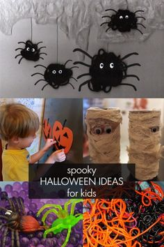 Spooky, but not too spooky, Halloween ideas for little kids to make and do.