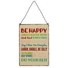 Placa metálica Be happy