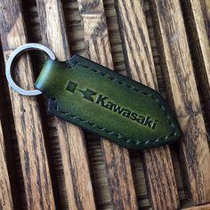 Kawasaki motorcycle leather keychain. Dark Green by HarisGomtang