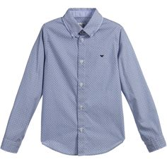 ARMANI JUNIOR Boys Blue & White Patterned Cotton Shirt