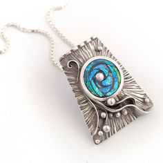 Sterling Silver Pendant with Iridescent Mosaic by LizardsJewelry