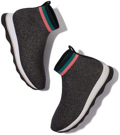 Loeffler Randall Loeffler Randall Scout Knit Sneaker $295 Loeffler Randall Scout Knit Sneaker in Black/Silver/Multi, Size 6: In a stretchy metallic-knit, these sheeny sneakers are incredibly statement-making. They have a striped sock-like topper finished with a back pull-tab, meaning they're easy to slip on and off. Meanwhile, the leather sole is exceptionally comfortable and great for all-day wear—with trousers, skirts, or floaty dresses. Knit mix upper with leather sole40 mm heel.