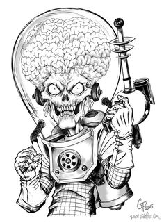 Mars Attacks art by Gabe Perna Alien Drawings, Space Drawings, Dark Art Drawings, Art Drawings Sketches, Twins Tattoo, Arte Tim Burton, Desenho New School, Tattoo Design Drawings, Alien Art