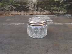 ANTIQUE JAR  PILL BoxJar Sterling Silver Lid by CottonCreekCottage, $32.00
