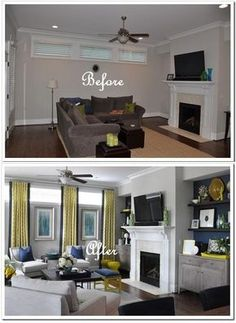 Difficult windows are lengthened with floor to ceiling drapes and excellent placement of artwork.