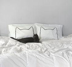 CatNap Pillow case Set by Xenotees - As seen on Design Sponge, DailyCandy, Honey Kennedy, & Hauspanther!  My original drawing of a modern kitty,