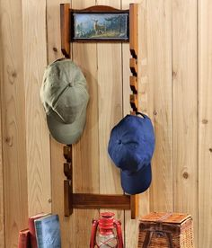 Baseball Cap Hat Storage Organization Wall Rack Deer Hunting Scene Hunter Cabin