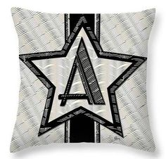 Art Deco Glamour Star of Show Monogrammed Throw PIllows design by Cecely Bloom