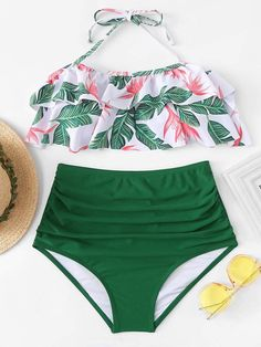 a49e48ea5a Jungle Print Halter Ruffle Top With High Waist Bikini