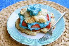 Red, white, and blue strawberry shortcake!