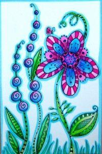Zentangle - Color Flower Leaves