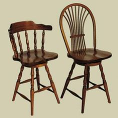 Heritage Wheat Sheaf Bow Back Windsor Swivel Dining Stool (Right)