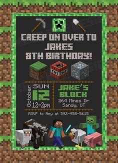 Minecraft Birthday Invitation Minecraft by SweetBeeDesignShoppe