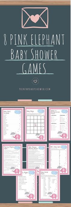 pink elephant baby shower | printable baby shower games 8 Pink Elephant Baby Shower Games That Your Guests Will Love! If you are having a girl theme shower then you would like this printable game set!
