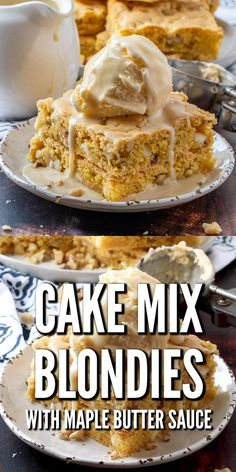 These white chocolate Cake Mix Blondies with Maple Butter Sauce are a shortcut version of a favorite dessert at Applebee's. Cake Mix Desserts, Easy Desserts, Delicious Desserts, Dessert Recipes, Yummy Food, Cookie Desserts, Recipes Dinner, Cake Mix Brownies, Cake Mix Cookies
