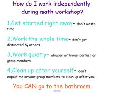 Procedures for Math Workshop