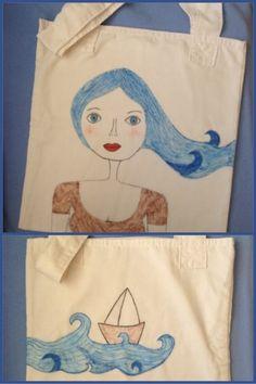 Deniz saçlı kız - bez çanta – 10marifet.org