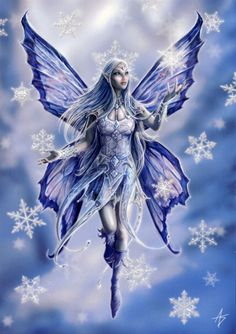 Snowflake Fairy Greeting Card - Graceful fairy conjures snowflakes for a wintertime storm.