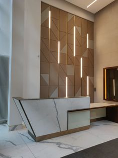 Showroom Interior Design, Hotel Room Design, Lobby Interior, Lobby Design, Interior Design Photos, Front Wall Design, Wall Panel Design, Wall Decor Design, Wooden Accent Wall