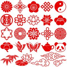 Illustration about Set of Chinese decorative icons. Illustration of icon, embroidery, oriental - 16821415 Chinese Icon, Chinese Element, Chinese Symbols, Chinese Art, Design Chinois, Art Chinois, Chinese Ornament, Impression Textile, Chinese New Year Crafts