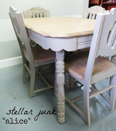"stellar junk makeover on antique dining room set. Whitewash technique on tabletop and set painted using Maison Blanche Paint Company's paint in ""Cobblestone."""