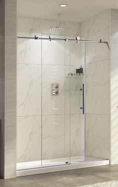 "Wet Republic Trident Lux 76"" x 56 - 60"" Sliding Brushed Nickel Shower Door"