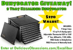 Excalibur Dehydrator Giveaway ($270 value) // deliciousobsessions.com