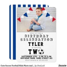 Cute Soccer Football Kids Photo 2nd Birthday Invitation