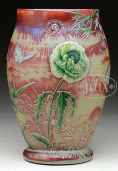 "Alphonse-Georges Reyen vase has green, amber and cream colored wheel - A. Reyen 1893"""