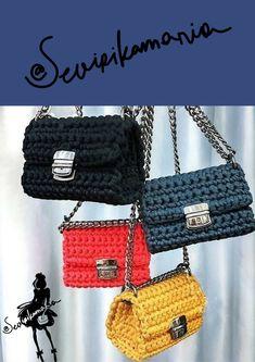 Crochet shoulder bag || urban crossbody bag || tshirt yarn handbag || urban style bag || fall fashion crossbody bag || women Fall look 2016 by Sevirikamania
