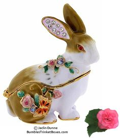 Floral Rabbit Trinket Box