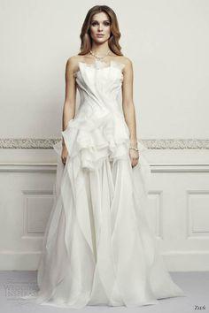 zien wedding dresses 2013 strapless tulle gown crumb catcher neckline